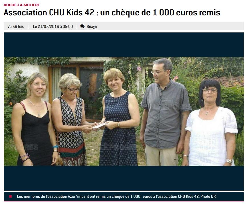 Azur Vincent Remise cheque CHU KIDS juillet 2016